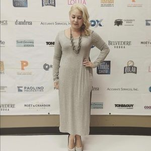 (S) Grey Cotton long sleeve dress